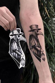 Creepy Tattoos, Badass Tattoos, Leg Tattoos, Body Art Tattoos, Sleeve Tattoos, Cool Tattoos, Dr Tattoo, Doctor Tattoo, Raven Tattoo