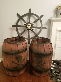 Halloween Pirate ship props with just cardboard, tape and paint and items from only stores – Sophia Rose Knows Pirate Halloween Decorations, Decoration Pirate, Pirate Halloween Party, Pirate Birthday, Pirate Theme, Halloween Diy, Halloween Camping, Halloween Witches, Happy Halloween