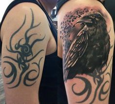 Crow cover up tattoo - From a discernible tribal tattoo to a realistic crow. The entirety of the previous tattoo wasn't really covered up but the remaining parts looked like a part of the new one.