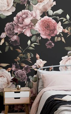 Create a vibrant feature wall with our beautiful purple & pink dark floral wallpaper mural design. Grey Floral Wallpaper, Wallpaper Decor, Rose Wallpaper, Monochrome Interior, Rose Illustration, Look Vintage, Decoration, Wall Murals, Bedroom Decor