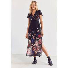 Kimchi Blue Sheer Floral Print Midi Dress (45.115 CRC) ❤ liked on Polyvore featuring dresses, short slip, short dresses, floral midi dress, midi dress and slip dresses