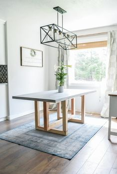 How To Make a DIY Concrete and Wood Dining Table is part of Diy dining table - Learn how to make a DIY concrete and wood dining table Free plans by Jen Woodhouse Beautiful geometric wood base with a concrete top Table Beton, Concrete Dining Table, Diy Dining Table, Diy Wood Table, Wood Tables, Diy Table Legs, Diy Crafts Table, Rustic Table, Diy Kitchen Tables