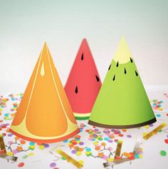 Party Hats Only // Tutti Frutti Party Theme // by PaperConfete