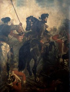 Captain (later General Sir) Dighton MacNaghten Probyn (1833–1924), 2nd Punjab Cavalry, at the Battle of Agra (one of the incidents for which he won the Victoria Cross), Indian Mutiny, 10 October 1857 by Louis William Desanges  National Army Museum Date painted: c.1860 Oil on canvas, 276.8 x 233 cm