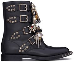 "this-is-the-thyme: ""Saint Laurent Black leather rangers with studs and charms, "" Bootie Boots, Shoe Boots, Ankle Boots, Pearl Shoes, Gothic Shoes, Rangers, Custom Charms, Punk, Leather Boots"