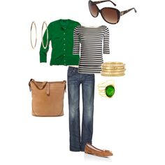 So chic--black/white striped top with a bright green cardigan and very simple yet elegant accessories.