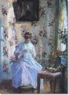 J. Gari Melchers - Woman Sewing
