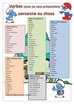 verbes avec ou sans préposition