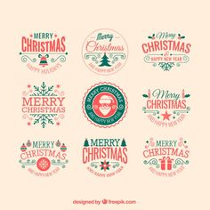Retro christmas badges Free Vector
