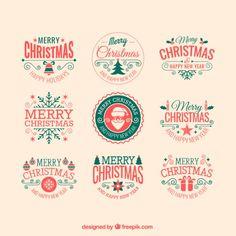 Retro christmas badges Free Vector
