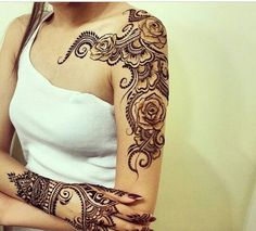 Henna shoulder down the arm and hand
