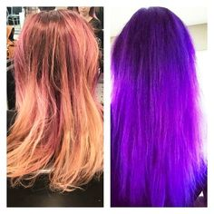 Omg I'm In love with this #beforeandafter #transformation  of @santacruzvaper - we did a #colormelt with #pravana #vivids #lockedin #purple - lower #color was diluted with pravana #clear - #love it!  #bright #popofcolor #beauty #cosmetology #student #future #artist  #haircolor #haircolor #haircut #stylist #salon #hair #salonlife #bleach #balayage #gorgeous #longhair #redken #beautyschool http://tipsrazzi.com/ipost/1523605359687986150/?code=BUk7wCSFWvm