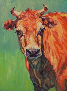 """Western Art International: Colorful ContemporaryAnimal Art ,Bovine Painting """"Dairy Queen"""" by Contemporary Animal Artist Patricia A. Griffin"""