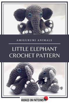 Elephant Amigurumi - Tembo: Make a cute elephant with this Amigurumi crochet pattern. This sweet little sitting elephant is make a great ornament. Modern Crochet Patterns, Crochet Animal Patterns, Stuffed Animal Patterns, Crochet Animals, Doll Patterns, Crochet Toys, Free Crochet, Crochet Crafts, Crochet Elephant Pattern
