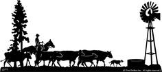 Cattle Drive Metal Silhouettes by Artist J Dunbar Silhouette Art in Pine Tree Silhouette, Silhouette Clip Art, Animal Silhouette, Silhouette Projects, Horse Stencil, Cattle Drive, Metal Art Projects, Cnc Projects, Clipart Black And White