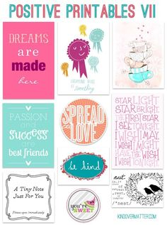 positive printables - perfect for little notes to child, husband, teacher, etc.