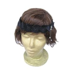 Black Flapper Headband Great Gatsby 1920s flapper by curtainroad