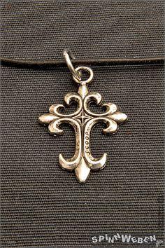 Gothic Kreuz am Lederband  Halskette Anhänger Metall von SpinnWeben