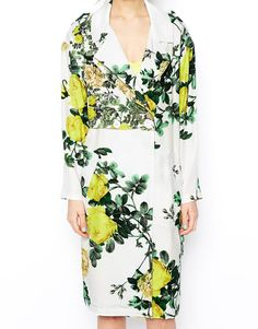 :Floral Trench Coat