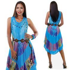 Hippie Batik Kleid Strandkleid Sommerkleid Türkis von Princess of Asia auf DaWanda.com