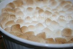 Deep South Dish: Traditional Southern Sweet Potato Casserole with marshmallows or praline topping.