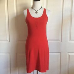 """Tomato Red Cotton Tank Dress Red stretch cotton tank dress in great condition. Dress it up or down. Looks adorable with a denim jacket ad flat sandals! 16""""B (will stretch further) & 36""""L. 95%Cotton, 5%Elastane. Divided Dresses"""