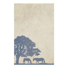 Blauw en Huwelijk van het Boerderij van het Paard  Briefpapier Ontwerp