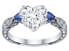 Vintage Heart Shape diamond Engagement Ring Blue Sapphire Pear side stones Hand engraved  - ES1103HS