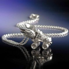 Silver Roller Derby Winged Skate Necklace by LaurenGraceJewellery, $149.00