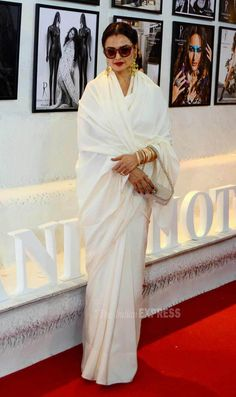 Rekha at the #DabbooRatnaniCalendar launch. #Bollywood #Fashion #Style #Beauty #Desi #Saree