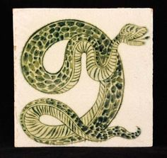 William de Morgan - Sands End - A square tile decorated with a handpainted green snarling serpent #tile #ukauctioneers