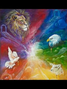 The Prophetic. Lion, lamb, dove and eagle and keys of the Kingdom of God. Colorful prophetic art.