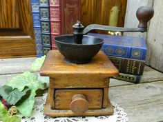 Antique Late 1800's Dovetailed Pine Cast Iron Coffee Grinder by allthatsvintage56 on Etsy