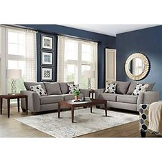 Bonita Springs Gray 7 Pc Living Room Set includes Loveseat, Cocktail Table, End & Sofa. Find affordable Living Room Sets for your home that will complement the rest of your furniture. Living Room Remodel, Living Room Paint, Living Room Grey, Living Room Kitchen, Living Room Sets, Living Room Interior, Living Room Furniture, Living Room Designs, Furniture Sets