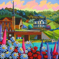 D'Amour et d'amitié by Louise Marion - Louise Marion, artiste peintre, paysage urbain, Quebec, couleurs