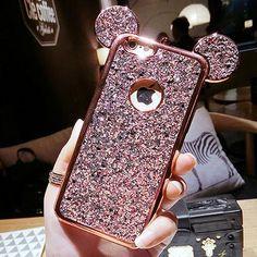 c7ff5917491 Luxury Rhinestone Glitter Bling 3D mouse ear Phone Case. Iphone 5sIphone 7  PlusIphone ...