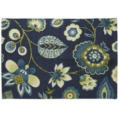 Blue Floral Flatweave Rug {Pier One}  This matches my curtains exactly....