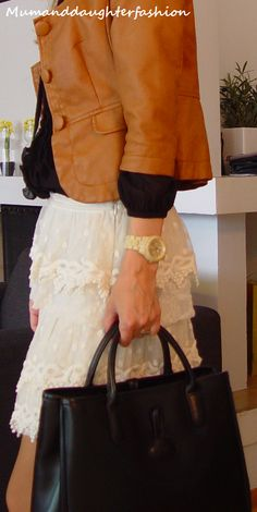 Leather and lace, Guess atch and Longchamp bag