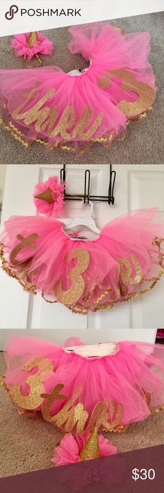 Birthday tutu with headband  new with tags Very, very full tutu skirt.  The word three and number three in glitter on front and back of skirt. Adjustable but not removable.  Adorable set for birthday pictures or party. Dresses Formal
