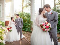Bride and Groom | Converse Dalton House | Valdosta, Georgia | Gray Suit | Beaded Wedding Gown | Camellia Bouquet Captured by Colson Photography