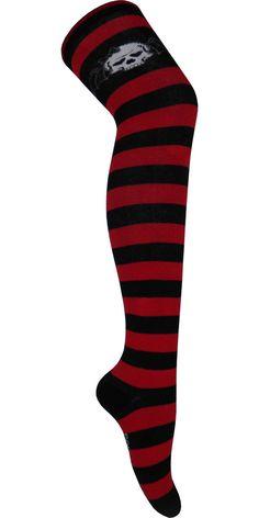 87c1e83f9d5cc Bat Skull Over The Knee Socks in Black and Red - Poppysocks. Thigh High ...