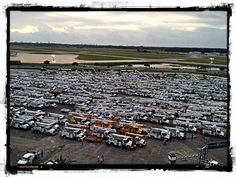 Altec trucks await to serve in the wake of storm Isaac. #altec #stormrecovery #Isaac