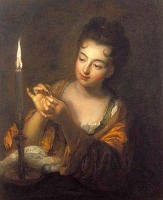 Brodeuse à la bougie par jean-Baptiste Santerre (1658-1717) - Musée des Beaux-Arts et d'archéologie de Libourne