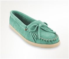 New for spring and summer 2016 - Minnetonka Newport moccasins in mint suede with a fun updated sole.