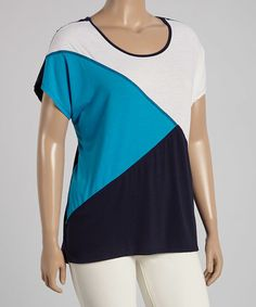 Look at this #zulilyfind! Peacock Color Block Tee - Plus by Allie & Rob #zulilyfinds