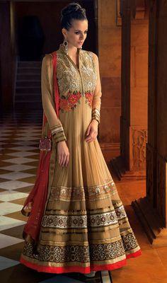 Beige Net Embroidered Floor Length Anarkali Churidar Suit Price: Usa Dollar $185, British UK Pound £109, Euro136, Canada CA$200 , Indian Rs9990.