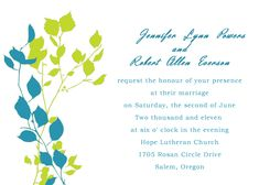 simple green and blue floral country wedding invitation kits EWI141 as low as $0.94