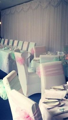 Pastel Pink & Mint Green Chair Sashes #pastelwedding
