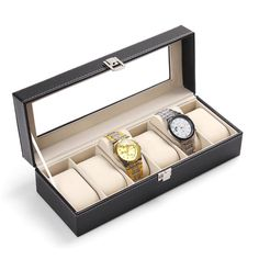 Cheap quality watch box, Buy Quality watch box directly from China watch case box Suppliers: 2016 Good Feedback Quality WristWatch Display Storage Organizer Box Container 6 Cell Leather Windowed Case watch box hot selling Watch Display Case, Watch Storage, Box Storage, Leather Watch Box, Black Leather Watch, Pu Leather, Jewelry Case, Glass Jewelry, Jewelry Watches