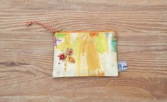 Small fabric purse, earbud pouch, coin purse, make up bag, yellow linen Fabric Purses, Abstract Print, Great Gifts, Coins, Coin Purse, Pouch, Sewing, Yellow, Creative